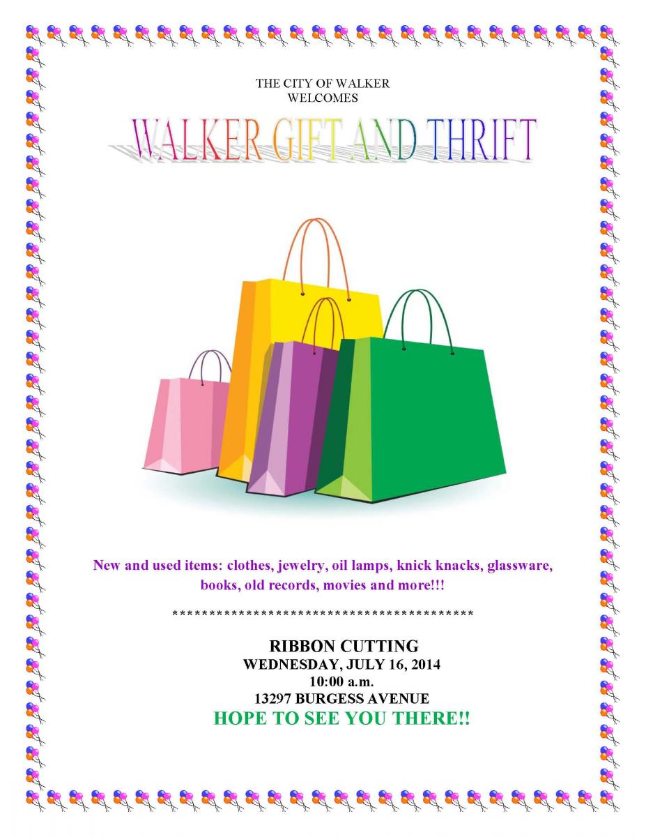 Walker Gift and Thrift ribbon cutting